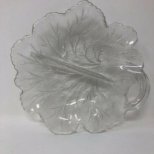 Leaf Shaped Divided Clear Glass Candy Trinket Dish